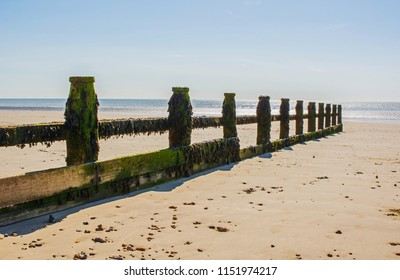 Wooden groyne on sandy beach at Littlehampton in West Sussex, England. Low tide.