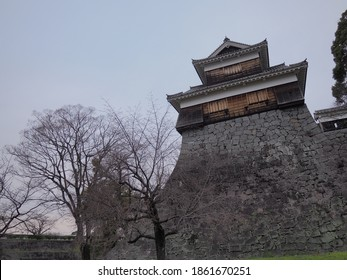 Wooden guard tower on japanese fortress of Kumamoto Castle