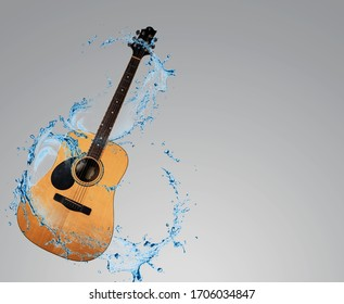 Wooden guitar, electric sound technology, musical instruments, technology separated from the clip, white background