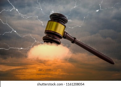 Wooden hammer, with golden metal center, placed on  clouds. , The power of auction in world of modern business,Fast and powerful as a lightning strike.