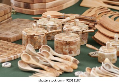Wooden hand crafted items of different kind.