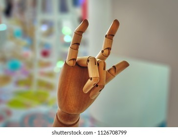 Wooden Hand Gesture of I Love You