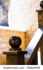 Wooden hand railing at home