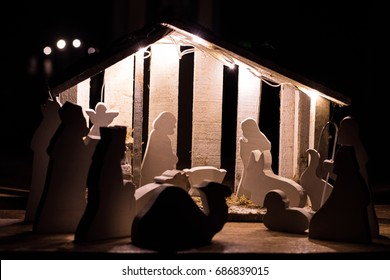 Wooden hand-crafted nativity scene for Christmas