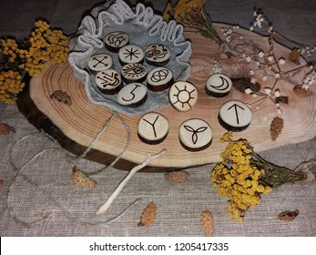 Wooden handmade witch runes