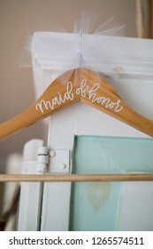 Wooden hanger with bow for maid of honor