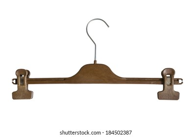 Wooden hanger with clips isolated over white