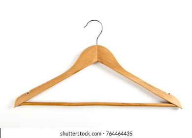 Wooden hanger for clothes on a white background