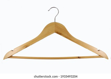 Wooden hanger with metal hook on white background