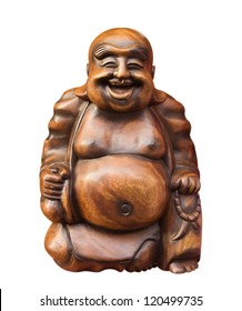 Wooden happy buddha - isolated on white. Clipping path included.