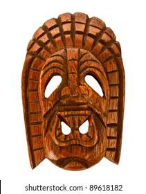 Wooden Hawaiian mask of long life isolated