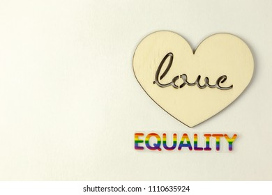 Wooden heart and equality word