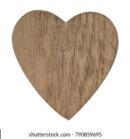 Wooden heart isolated on white background with clipping path