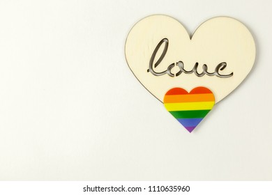 Wooden heart and LGBT heart