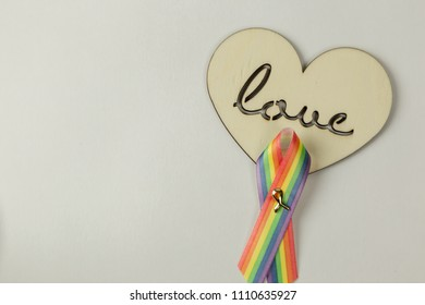 Wooden heart and LGBT ribbon