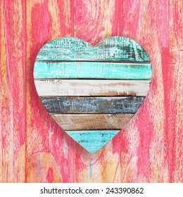 wooden heart on vintage background