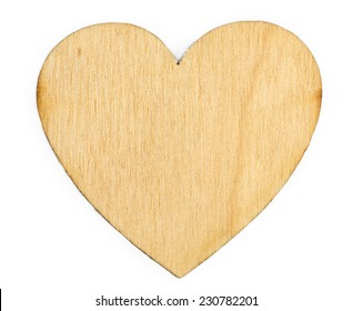 Wooden heart on the white background