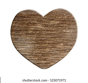 Wooden heart on white background with clipping path