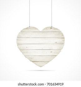 Wooden heart with ropes isolated over white background