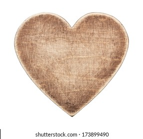 Wooden heart shape board, isolated