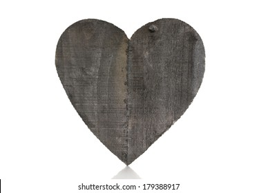 wooden heart shape isolated on white background with space for text