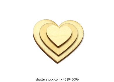 Wooden heart shape isolated on white background. Love symbol simple