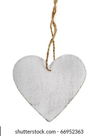 wooden heart sign with rope isolated on white background