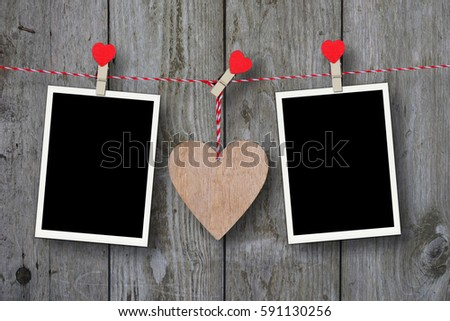 Wooden Heart Two Empty Photo Frames Stock Photo Edit Now 591130256