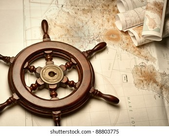 wooden helm on the navigation map,for navigation,travel,adventure themes