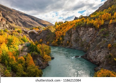 Wooden historic bridge over the shotover river, Queenstown, New Zealand