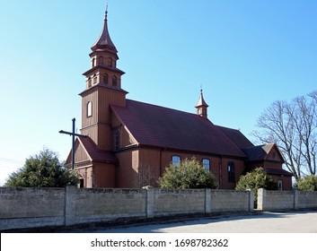 wooden historic parish church built in 1920 dedicated to Saint Józef in Złotoria in Podlasie region in Poland - Shutterstock ID 1698782362