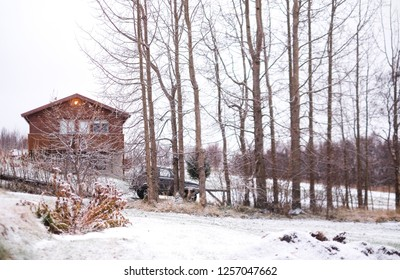 a wooden homey house with a car and a line of deciduous trees on the ground cover with winter snow