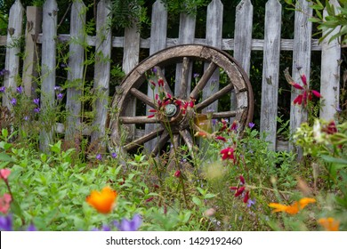 Wooden horse cart / wagon wheel lying up against a wooden fence with beautiful greenery and colourful flowers surrounding it.