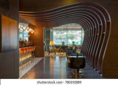 Wooden Hotel Loby and Bar ,Blurred Background