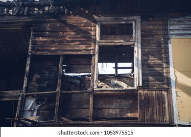A wooden house after a fire
