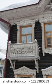 Wooden house with balcony in Tomsk city (Russia)