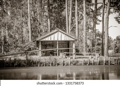 wooden house by the lake