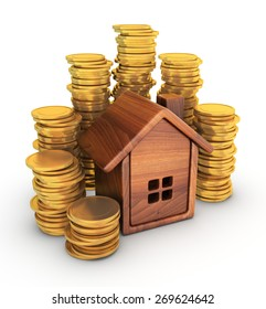 Wooden house with coins on a white background.