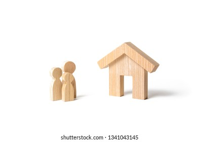 Wooden house and family. Buying a new home. Subsidy. Rental housing, investment. Mortgage and loans. Quiet and comfortable home in the suburbs. State program of assistance to young families.