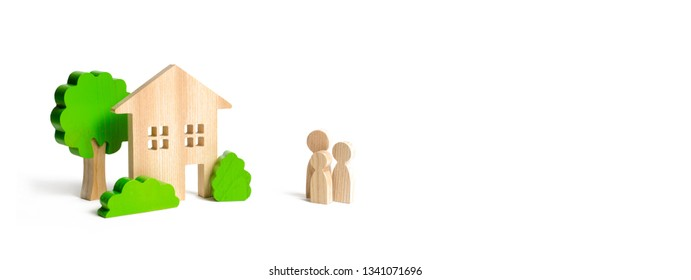 Wooden house and family. Buying a new home. Mortgage and loans. Quiet and comfortable home in the suburbs. State program of assistance to young families. Subsidy. Rental housing, investment. banner
