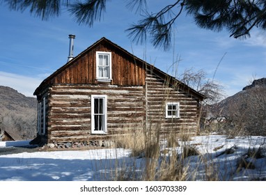 Wooden house in Golden History Park in Golden, Colorado, in the winter