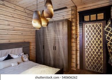 wooden house interior bedroom