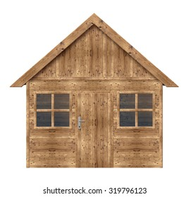 Wooden house isolated on a white background