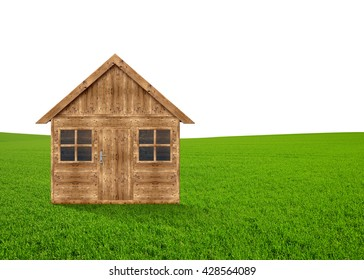 Wooden house in the meadow on white background