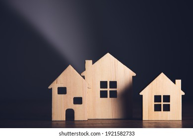 wooden house models on the table background