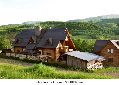 Wooden house in a mountain village in Ukrainian Carpathians