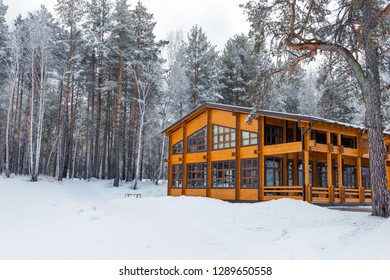 Wooden house in a nature area covered with freshly fallen snow