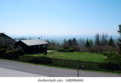 wooden house and nature scenic view