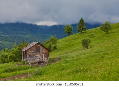 A wooden house on a green meadow in mountains. A house near old forest. Lifestyle in the Carpathian village.