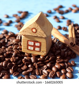 wooden house on the mountain of coffee beans. cozy homemade drink